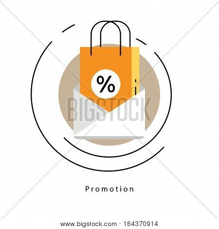 Flat line modern corporate business vector illustration design and infographic elements for shopping, e-commerce, m-commerce services, digital promotion, discounts, sale, internet and online shopping
