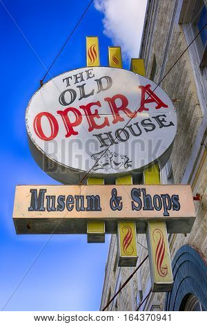 Arcadia, FL, USA - July 13:The old Opera House museum and shops sign on Oak Street in Arcadia FL