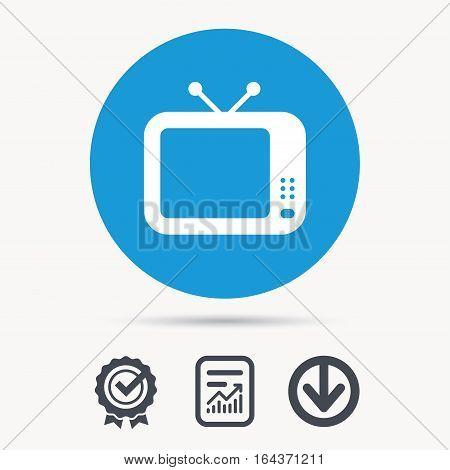 TV icon. Retro television symbol. Achievement check, download and report file signs. Circle button with web icon. Vector