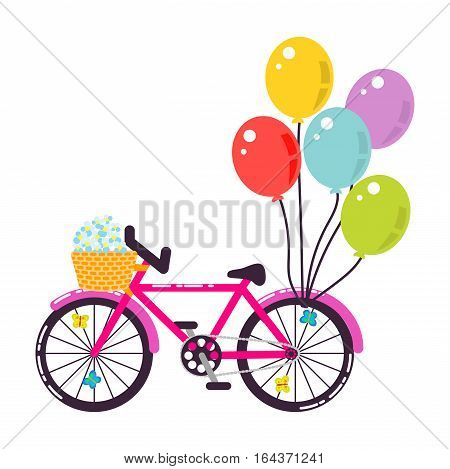 Pink girlish gift bicycle vector illustration. Pink bike with air ballons and flowers in basket cartoon vector illustration.