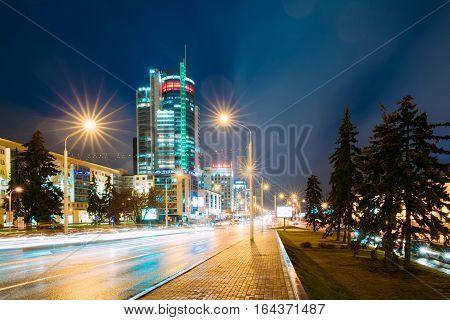 Minsk, Belarus - November 3, 2016: Night Traffic On Illuninated Street Pobediteley Avenue In Minsk.
