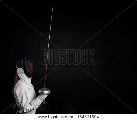 Girl ready for a fencing. Sport concept.