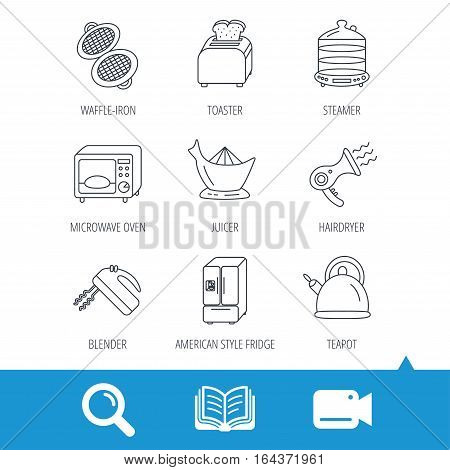 Microwave oven, teapot and blender icons. Refrigerator fridge, juicer and toaster linear signs. Hair dryer, steamer and waffle-iron icons. Video cam, book and magnifier search icons. Vector