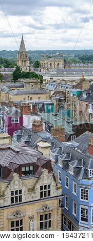 Vertical view of Oxford England. Oxford is known as the home of the University of Oxford.
