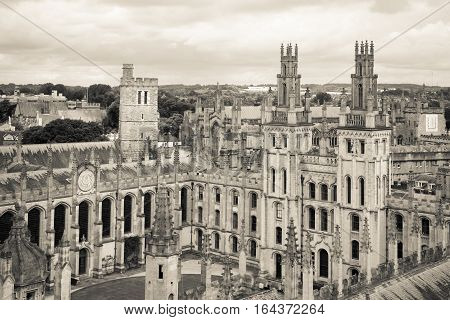 All Souls College Oxford University Oxford UK. Black and white horizontal view with All Souls College and Oxford University.