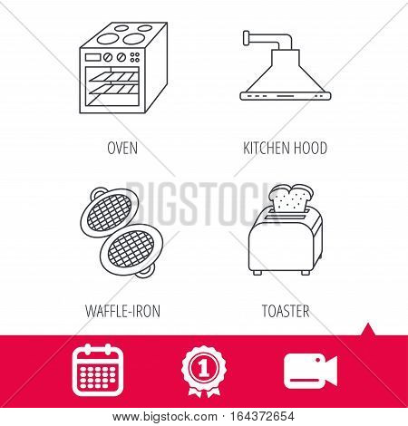 Achievement and video cam signs. Oven, toaster and waffle-iron icons. Kitchen hood linear sign. Calendar icon. Vector