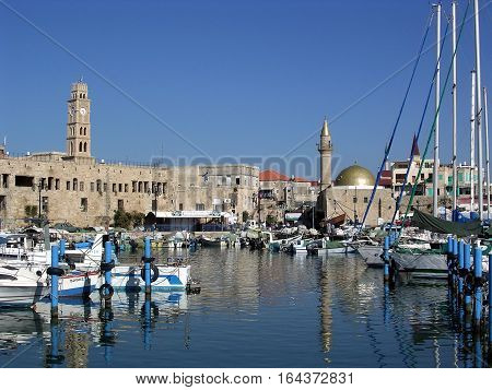 Fishing harbor and Old City of Akko (Acre) Israel November 15 2003