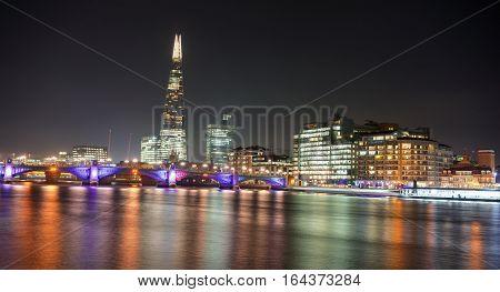 London River Thames London Bridge skyline at night