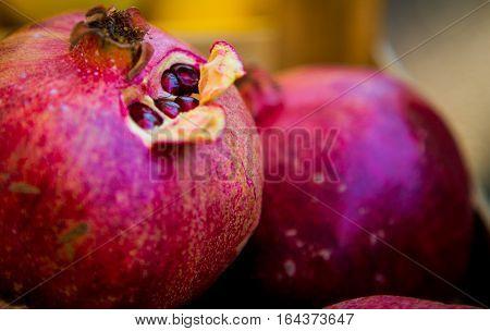 Freshly picked pomegranate at a market in split croatia