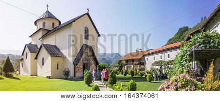 MORACA VALLEY MONTENEGRO - AUGUST 10 2014: Moraca Monastery a Serbian Orthodox monastery located in the valley of the Moraca River in Kolasin