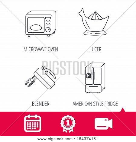 Achievement and video cam signs. Microwave oven, American style fridge and blender icons. Juicer linear sign. Calendar icon. Vector