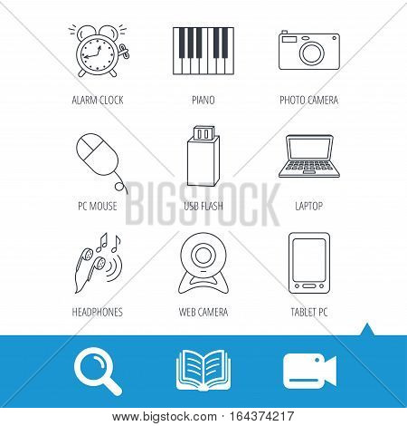 Photo camera, USB flash and notebook laptop icons. PC mouse, alarm clock and web camera linear signs. Tablet PC and music headphones icons. Video cam, book and magnifier search icons. Vector