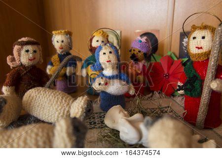 Bethlehem Nativity scene from figurine made on knitting yarn