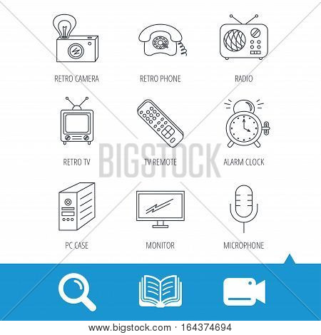 Retro camera, radio and phone call icons. Monitor, PC case and microphone linear signs. TV remote, alarm clock icons. Video cam, book and magnifier search icons. Vector