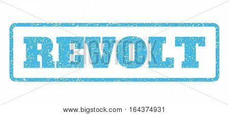 Light Blue rubber seal stamp with Revolt text. Vector message inside rounded rectangular banner. Grunge design and dust texture for watermark labels. Horisontal sticker on a white background.