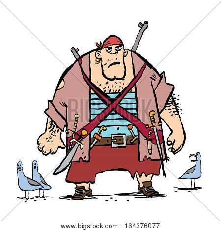Huge funny pirate and seagulls, cartoon style vector illustration