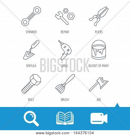 Spanner repair tool, spatula and bolt icons. Bucket of paint, axe and brush linear signs. Drill, pliers flat line icons. Video cam, book and magnifier search icons. Vector