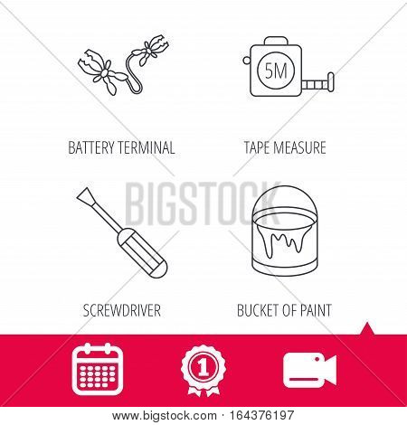 Achievement and video cam signs. Screwdriver, battery terminal and tape measure icons. Bucket of paint linear sign. Calendar icon. Vector