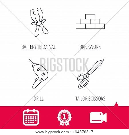 Achievement and video cam signs. Wall, battery terminals and scissors icons. Drill tool linear sign. Calendar icon. Vector