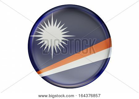 Badge with flag of Marshall Islands 3D rendering isolated on white background