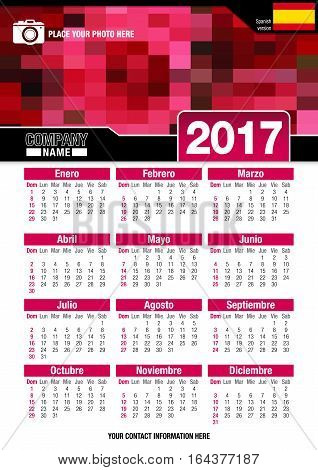 Useful wall calendar 2017 with design of red colors mosaic. Format A4 vertical. Size: 210mm x 297mm. Spanish version