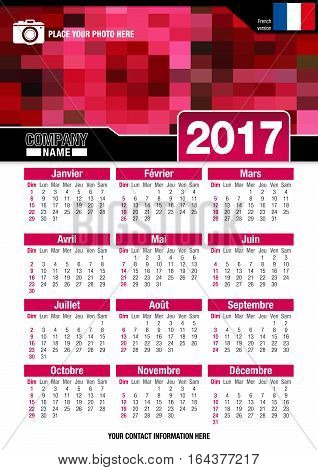 Useful wall calendar 2017 with design of red colors mosaic. Format A4 vertical. Size: 210mm x 297mm. French version