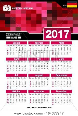Useful wall calendar 2017 with design of red colors mosaic. Format A4 vertical. Size: 210mm x 297mm. German version