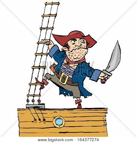 Brave pirate is on Board the ship, cartoon style vector illustration