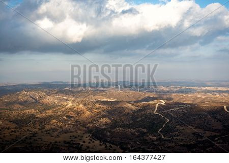 Cyprus landscape. View from Stavrovouni Monastery. Larnaca District.