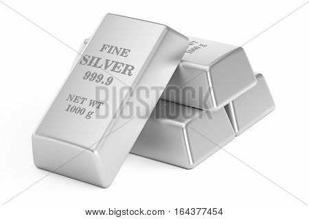 silver bars 3D rendering isolated on white background