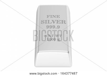 silver ingot 3D rendering isolated on white background