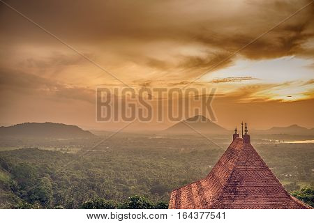 Sri Lanka: Dambulla cave temple and national park at the sunset