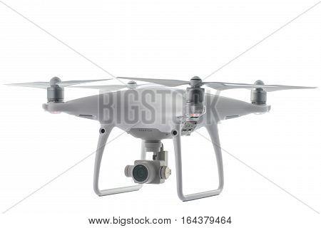 Varna, Bulgaria - January 05 ,2017: Flying Drone Quadcopter Dji Phantom 4Pro Optimized Vision Positi