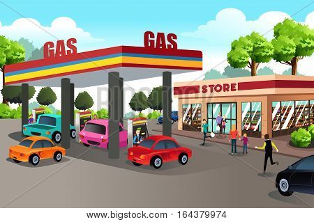 A vector illustration of People at Gas Station and Convenience Store