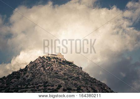 Stavrovouni Orthodox monastery on the mountaintop. Larnaca District Cyprus.