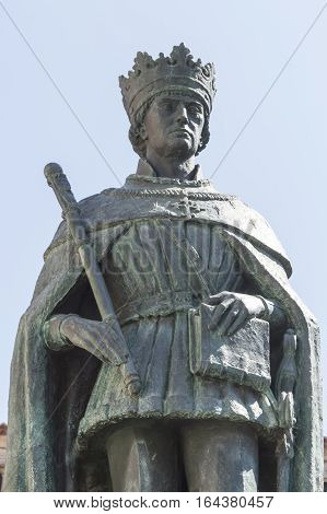 Statue of king Duarte also called Edward ancient Portugal sovereign placed in Viseu