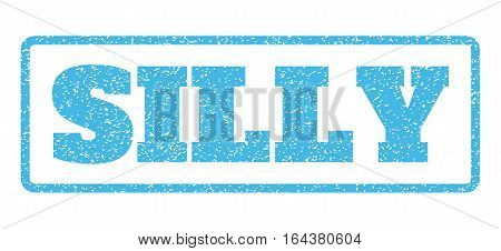 Light Blue rubber seal stamp with Silly text. Vector tag inside rounded rectangular frame. Grunge design and scratched texture for watermark labels. Horisontal sign on a white background.