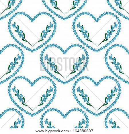forget-me-nots heart background with branches of flowers. Floral holiday seamless pattern for textile, wallpapers, print, gift wrap and scrapbooking.