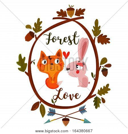 Forest Love-Happy Valentines day card with cute fox and rabbit-stock vector