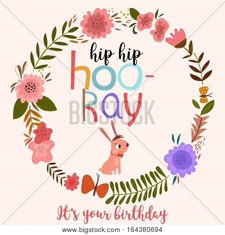 Hip hip hooray. Happy Birthday - hand drawn vector greeting card decoration with rabbit - stock vector