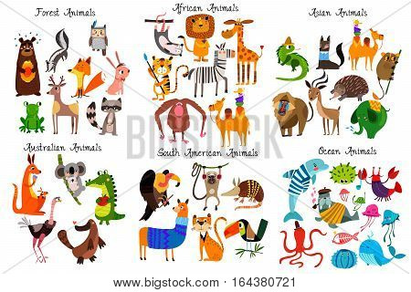 Big collection of cute cartoon animals from different continents: ForestAustralian African South american animalsOcean animals and Asian animals.Vector illustration isolated on white