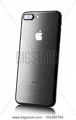 Varna, Bulgaria - December, 04, 2016: Studio Shot Of A Black Iphone 7 Plus, With Dual 12 Mp Camera,