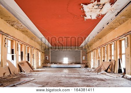 old deserted room, ancient casern building