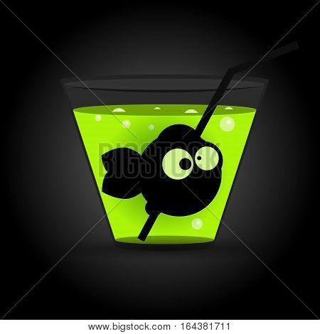 Fish in glass with green drink. Vector illustration
