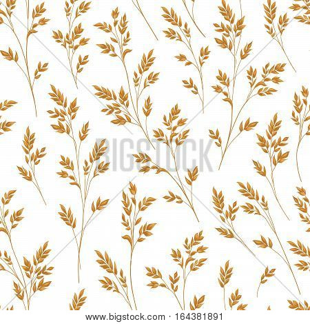 Floral pattern with herb branch and leaves. Fall straw ornamental seamless background. Nature pattern with ear wheat