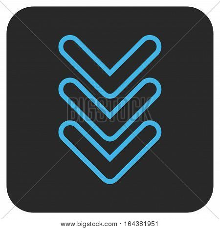 Triple Pointer Down glyph icon. Image style is a flat icon symbol on a rounded square button blue and gray colors.