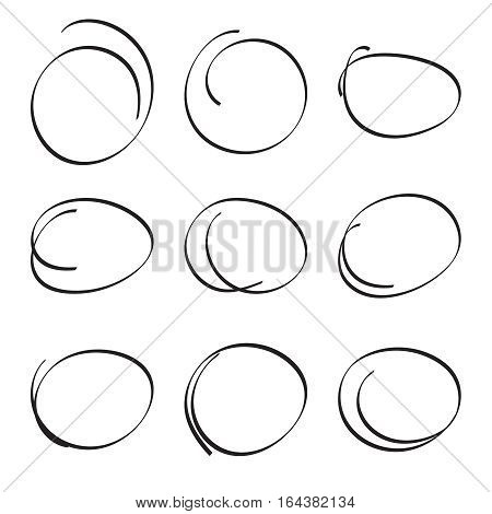 Set hand drawn ovals, felt-tip pen circles. Underlining, note, highlight important information. Rough vector frame elements.