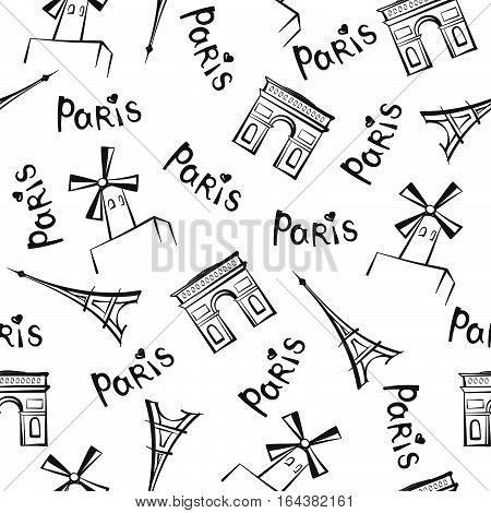 Paris city landmarks and handwritten lettering PARIS seamless pattern. Travel France tile background