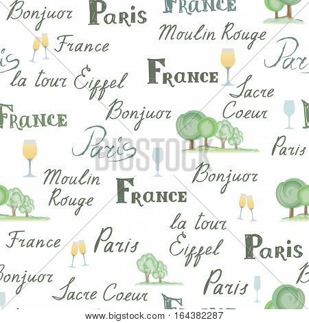 Travel France tile background. Paris city seamless pattern. Handwritten lettering nature design elements trees wine glasses. French cuisine cafe decoration concept