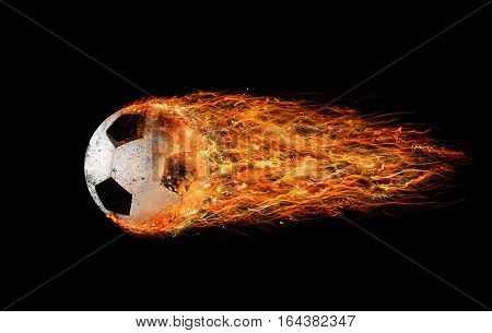 Professional soccer fireball leaves trails of flames